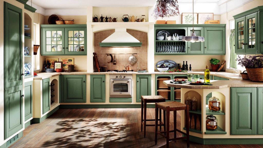 Просторная кухня в деревенском стиле с порталом