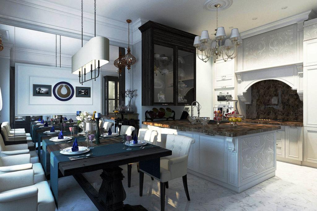 Кухня со встроенным порталом над плитой до потолка