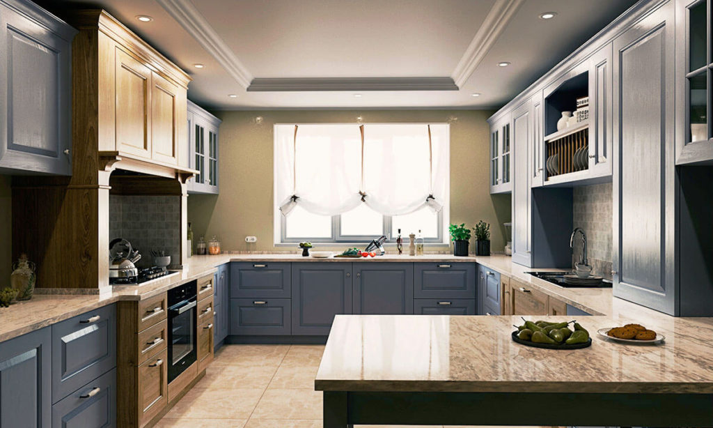 Интерьер кухни с двумя порталами