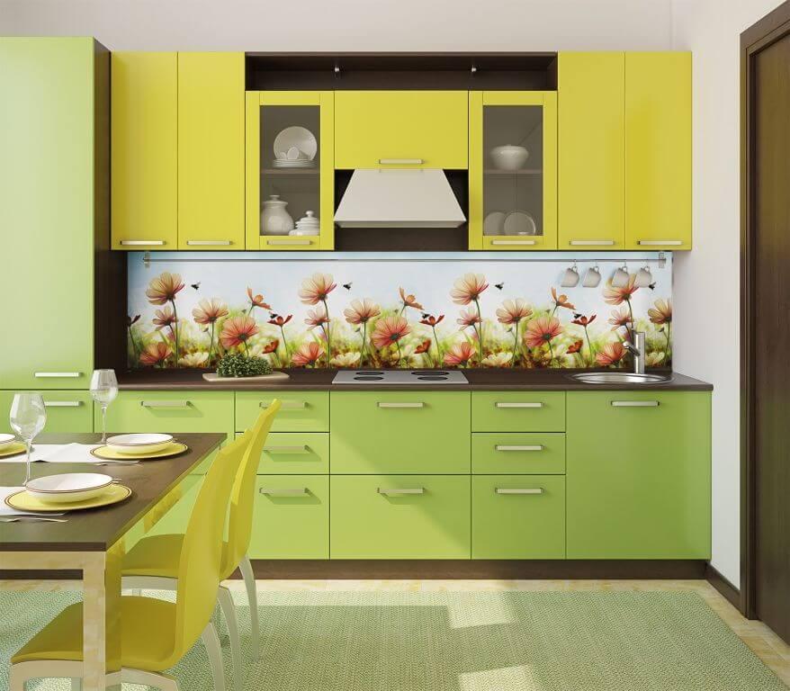 Фото кухонного гарнитура с декоративными настенными панелями