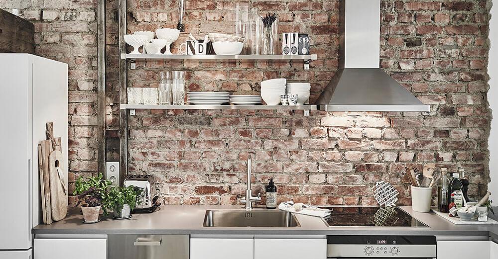 Фото кухонного фартука в стиле Лофт под кирпич