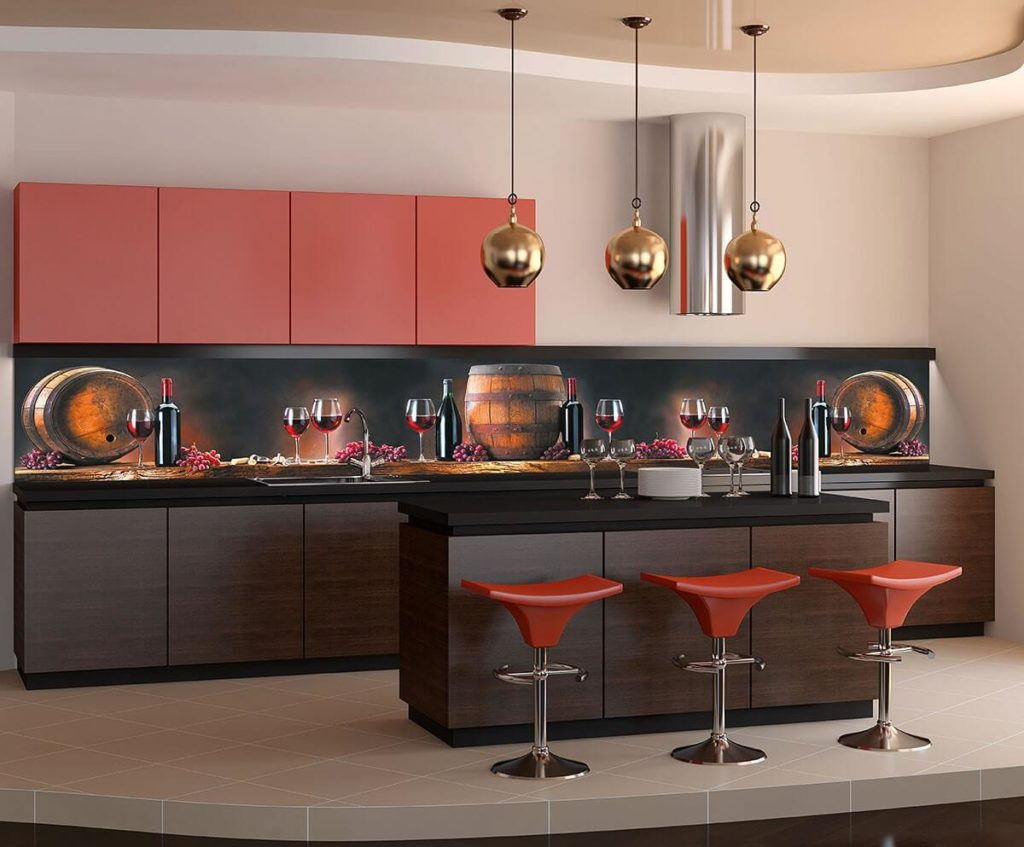 Фото фартука кухонного гарнитура с рисунком - вино