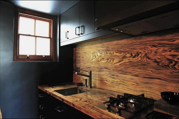 Кухонные настенные панели из натурального дерева