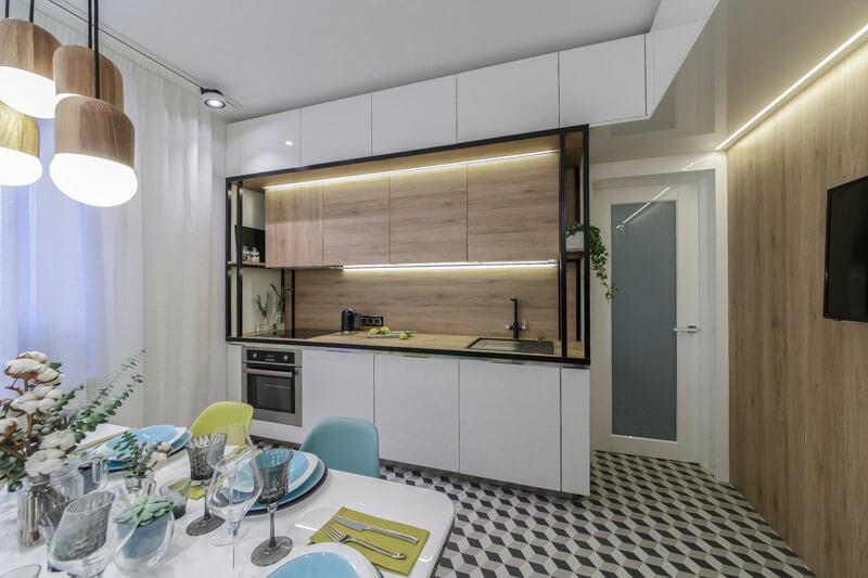 Кухонный гарнитур с МДФ ламинированной настенной панелью