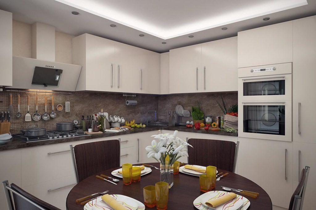 Современная кухня с угловым гарнитуром