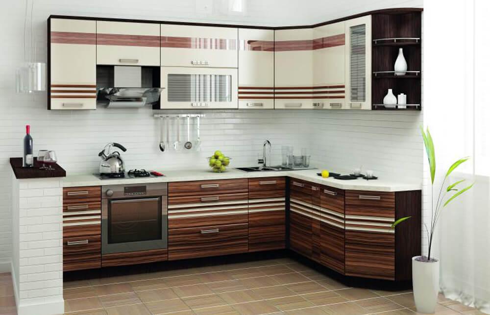 Угловой кухонный гарнитур с распашными шкафами