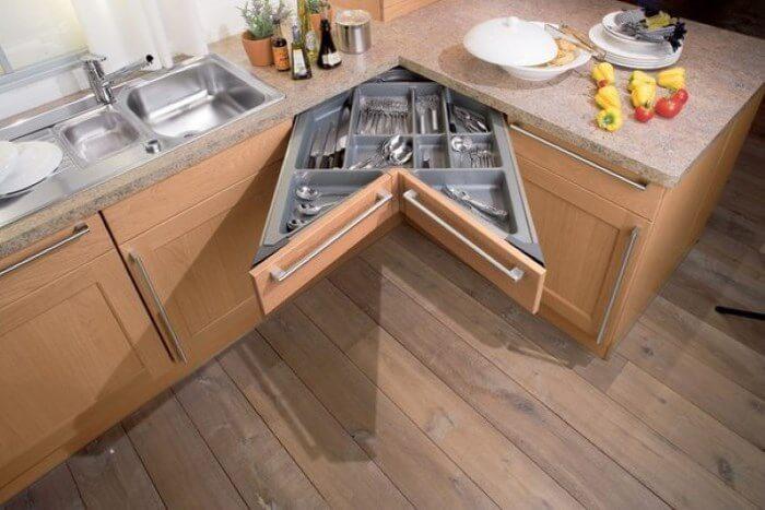 Фото Г-образного кухонного углового шкафа