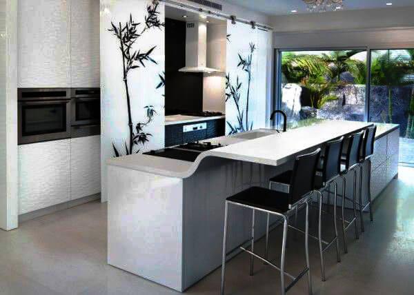 Кухонный остров с барной стойкой в интерьере