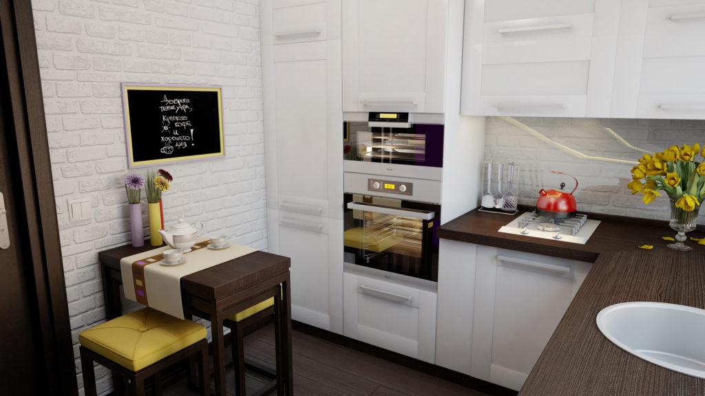 Фото маленькой угловой кухни в светлых тонах