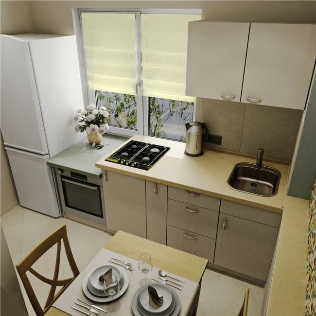 Планировка компактной угловой кухни
