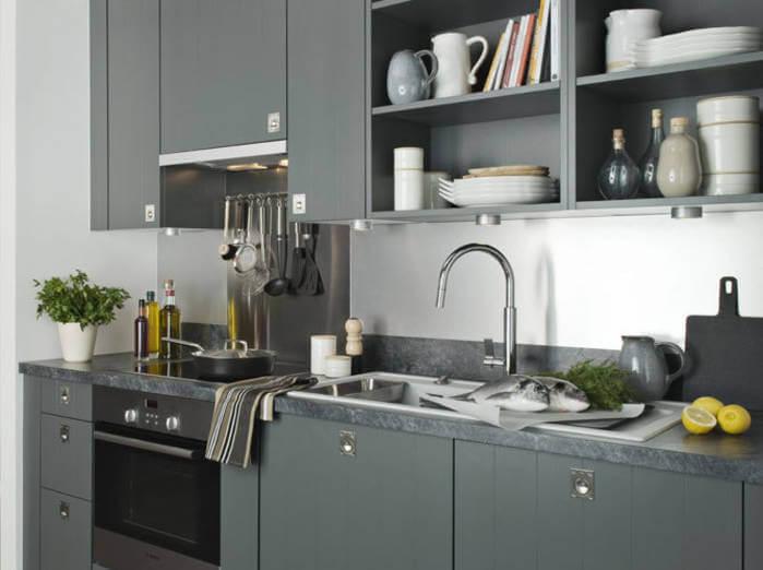 Линейная планировка маленького кухонного гарнитура