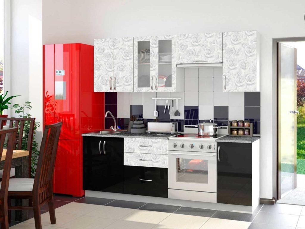 Современный кухонный гарнитур прямой планировки