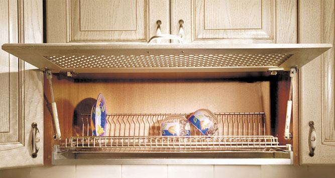 Навесной кухонный шкаф для посуды с подъёмным вентилируемым фасадом