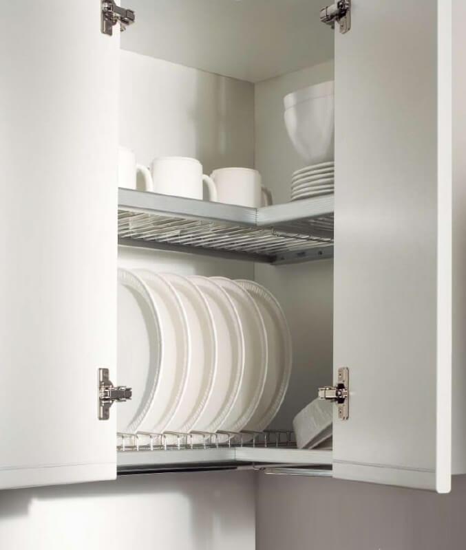 Распашной угловой кухонный шкаф для посуды