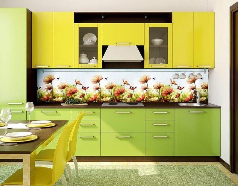 Кухня с пластиковым фартуком рабочей стенки