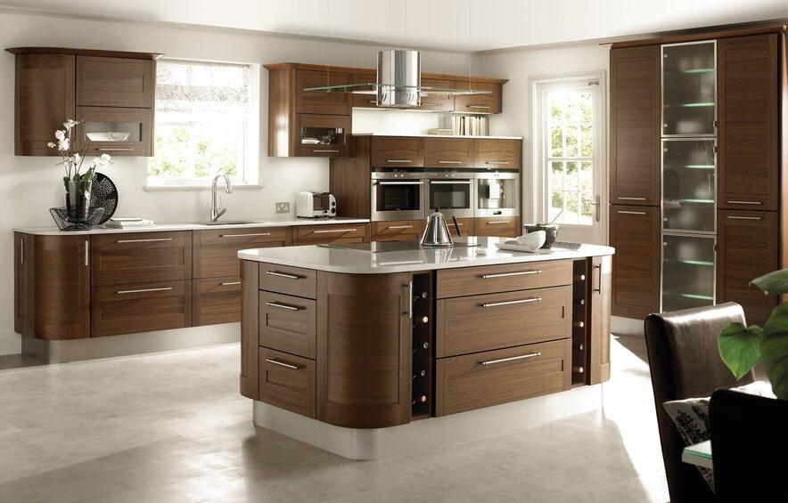 Фото прямой планировки кухни с кухонным островом