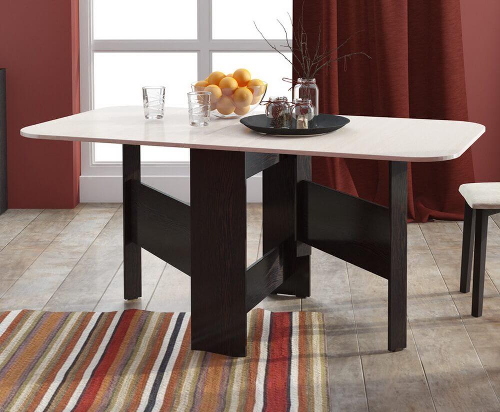 Раскладной кухонный стол тумба с деревянными ножками-подпорками
