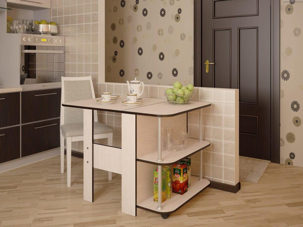 Раскладной стол-тумба в интерьере кухни