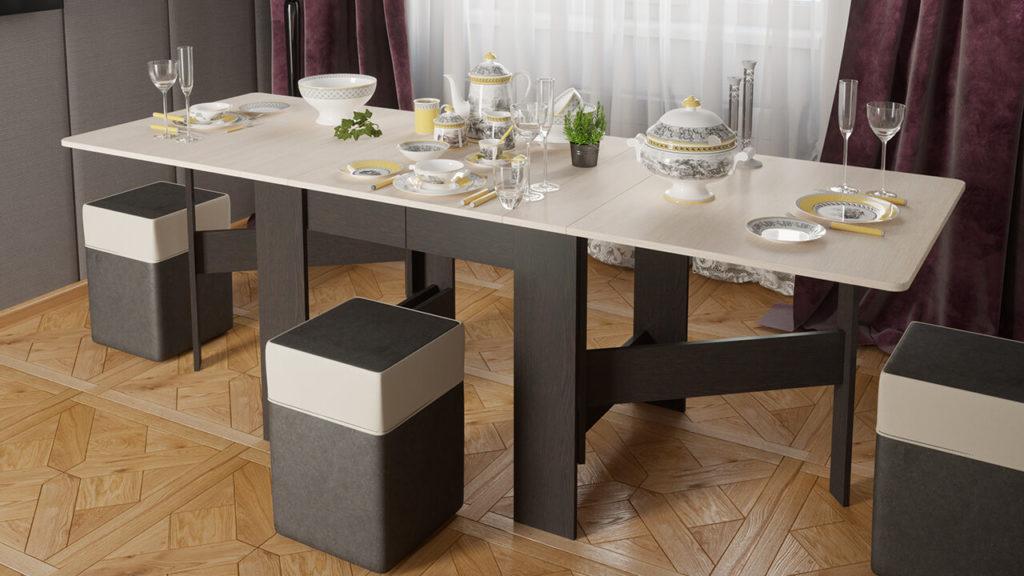 Большой раскладной стол-тумба для кухни