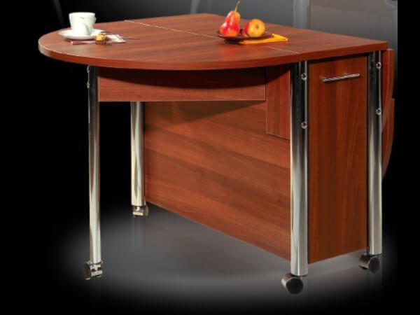 Кухонный стол тумба с хромированными ножками-подпорками и полукруглой столешницей