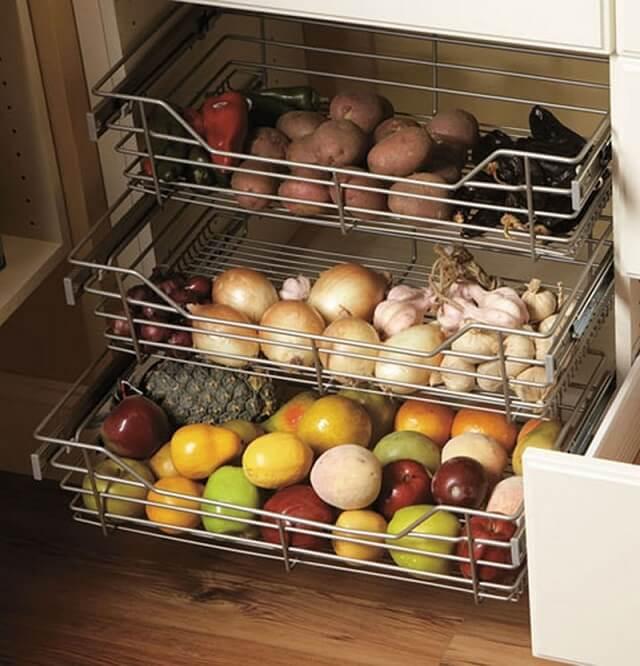 Выдвижные металлические секции под овощи и фрукты