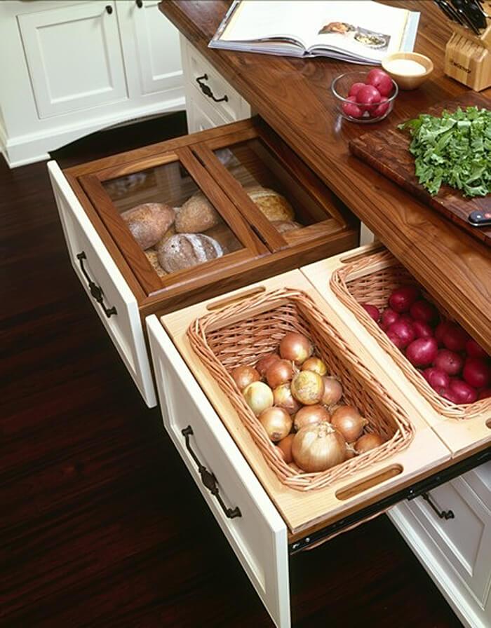 Выдвижные ящики кухонного гарнитура для овощей и фруктов
