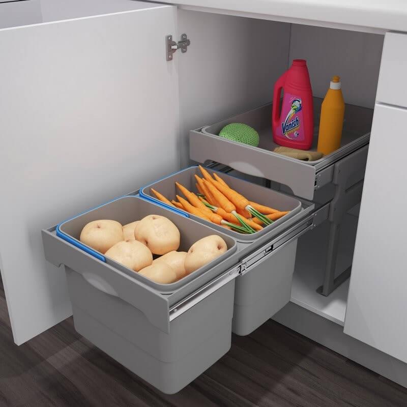 Выдвижная система хранения овощей и фруктов с пластиковым контейнером