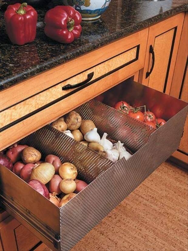 Металлический кухонный ящик для хранения овощей