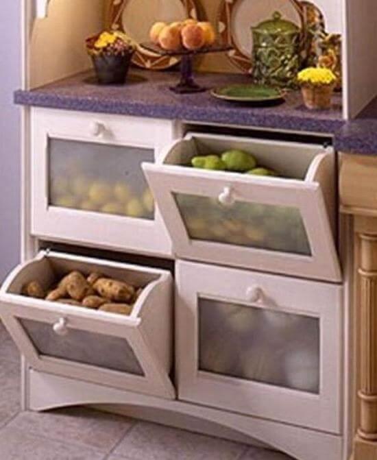 Фото кухонного шкафа для овощей с откидной системой открытия