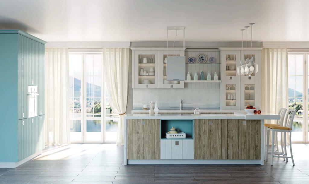 интерьер кухни со шкафами со стеклянными фасадами под посуду