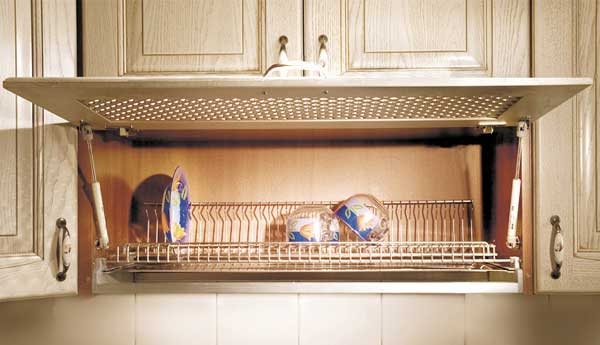 Шкаф-сушилка для посуды с подъемным фасадом на газлифтах