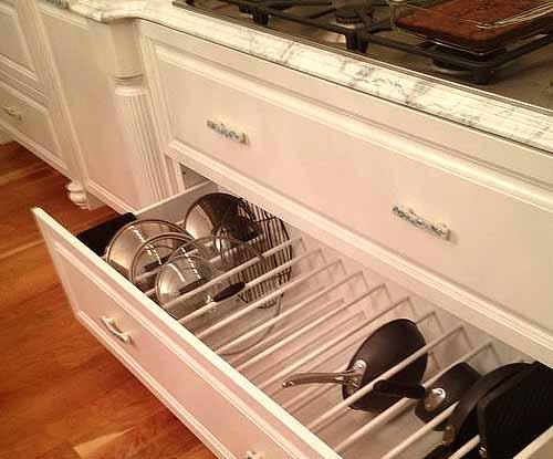 Выдвижной кухонный ящик с системой хранения для посуды