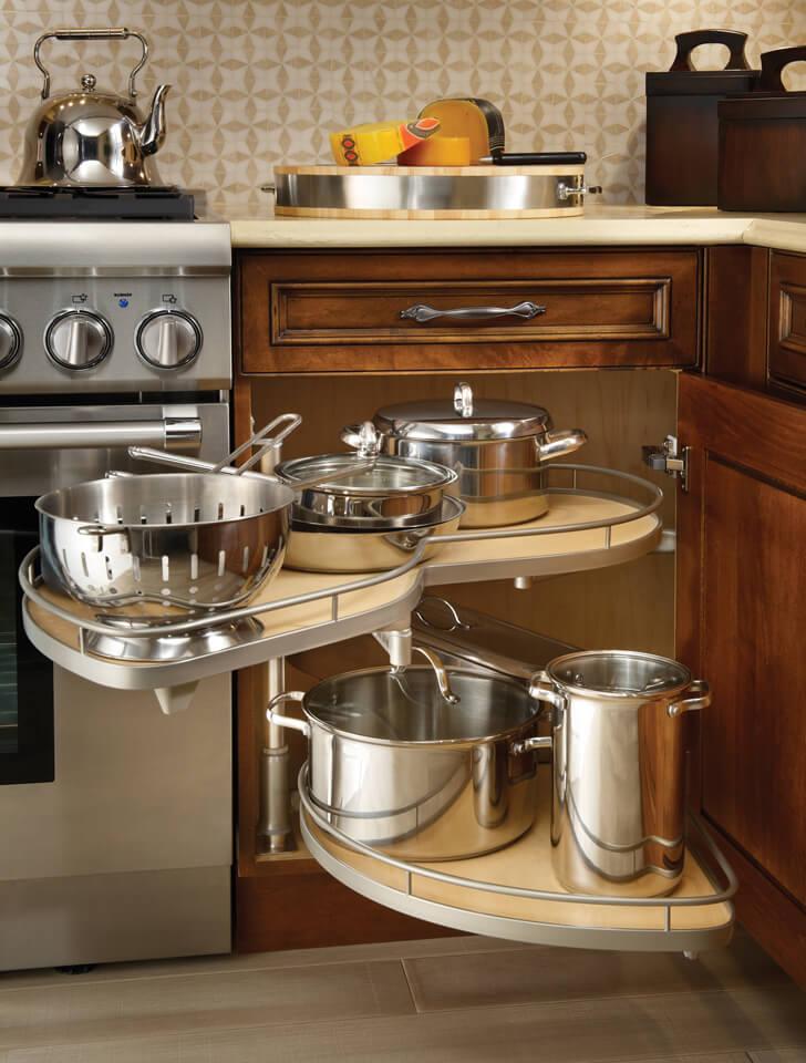 Выдвижная система для хранения кастрюль для угловых кухонных тумб