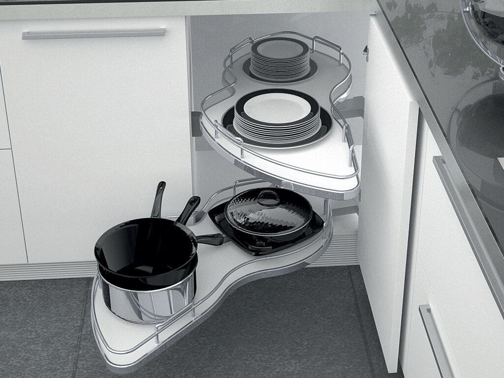 Выдвижная система для кастрюль и сковородок встроенная в угловую кухонную тумбу