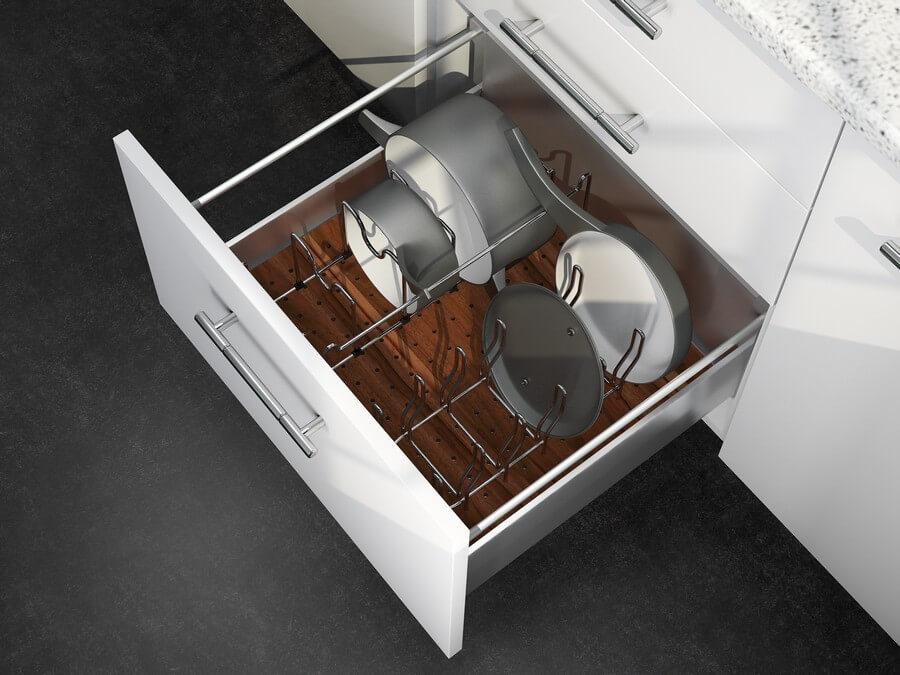 Выдвижной ящик с подставками для кастрюль и сковородок