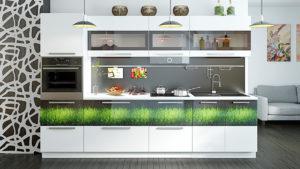 Кухонный гарнитур с остеклением верхних шкафов