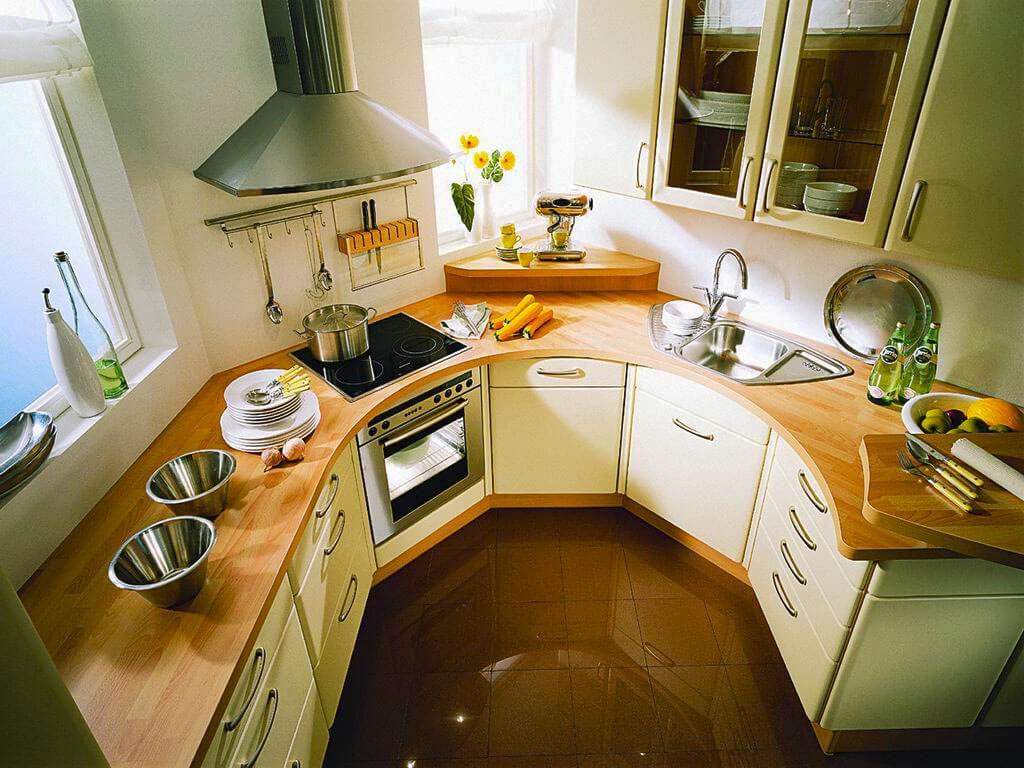 Фото полукруглого кухонного гарнитура