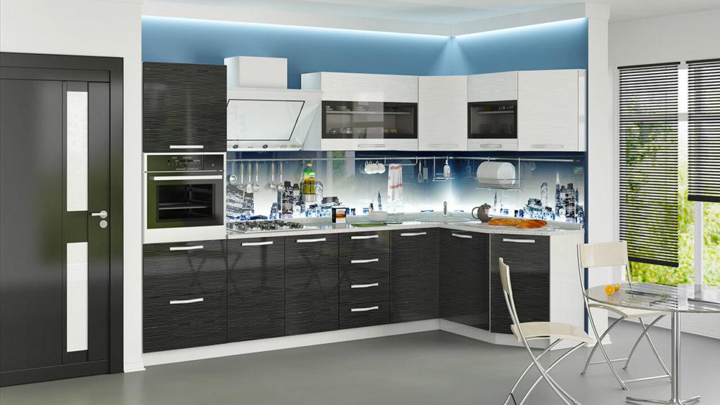 Кухонный гарнитур с трапециевидным верхним угловым шкафом-сушилкой над мойкой
