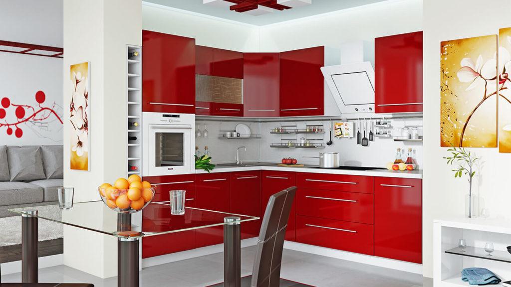 Угловая кухня с распашным верхним угловым шкафом