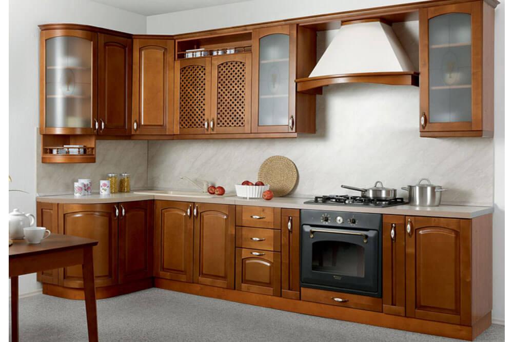 Фото деревянного углового гарнитура для кухни