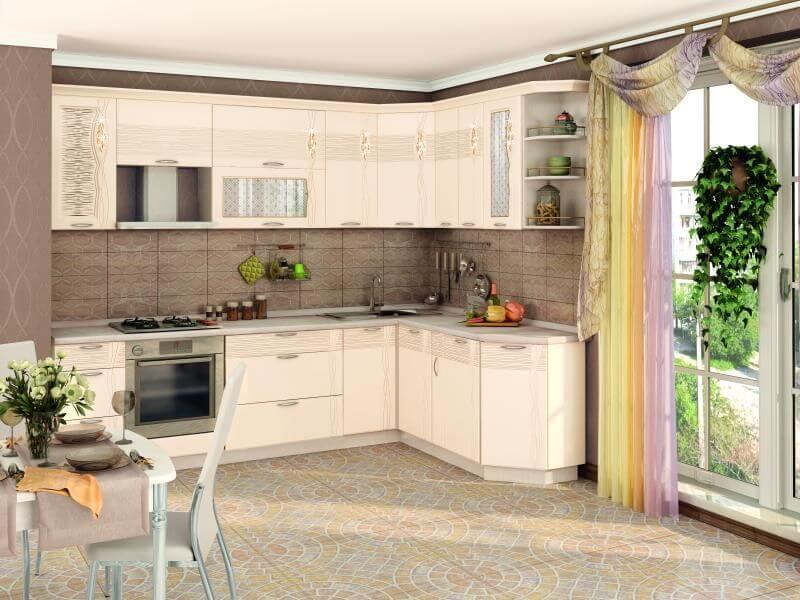 Фото угловой кухни с трапециевидным верхним угловым шкафом