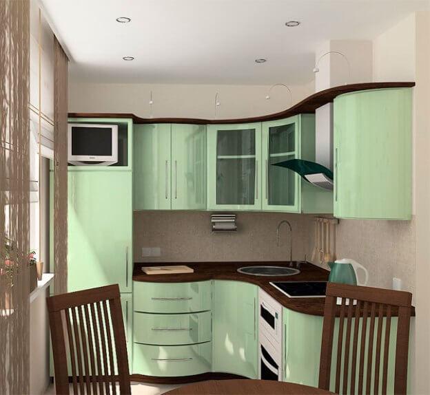 Угловой радиусный кухонный гарнитур с глянцевыми фасадами