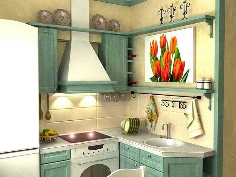 Фото компактной угловой кухни в деревенском стиле