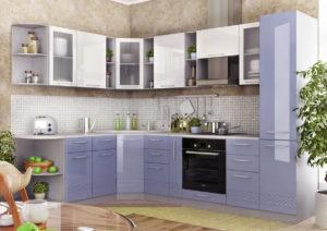 Угловой кухонный гарнитур с трапециевидными угловыми шкафами