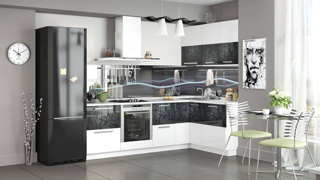 Угловой кухонный гарнитур с прямым стыковочным верхним угловым модулем