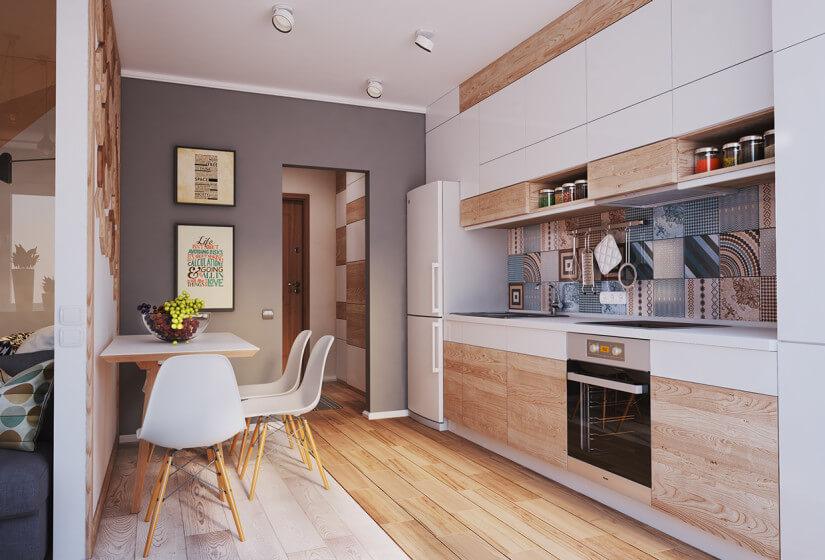 Кухонный гарнитур со встроенной вытяжкой