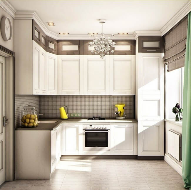 Кухня в классическом стиле со встроенной вытяжкой