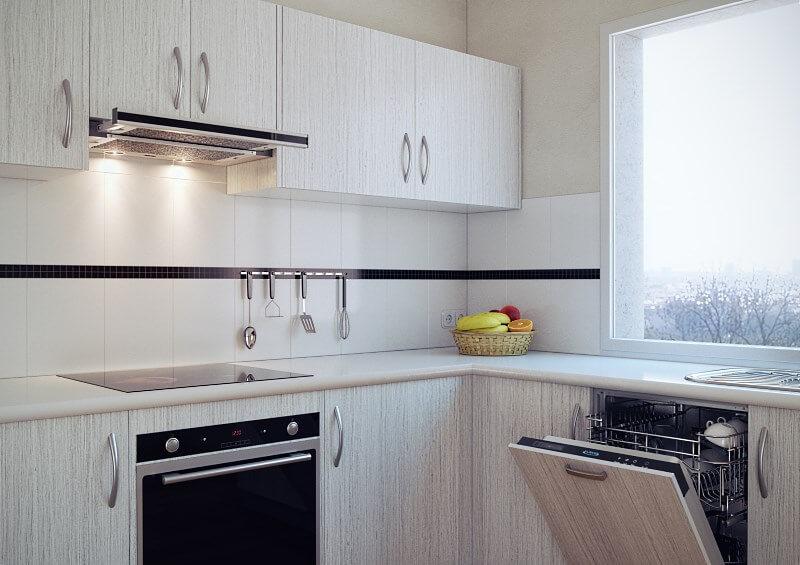 Кухонный гарнитур со встроенной телескопической вытяжкой