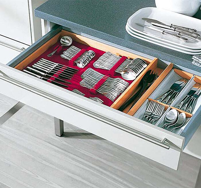 Лоток для хранения столовых приборов с бархатной отделкой