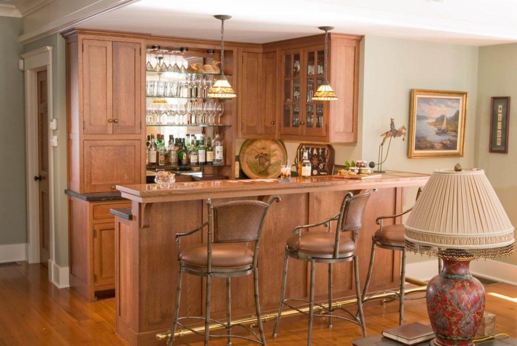 П-образная планировка кухонного гарнитура с барной стойкой